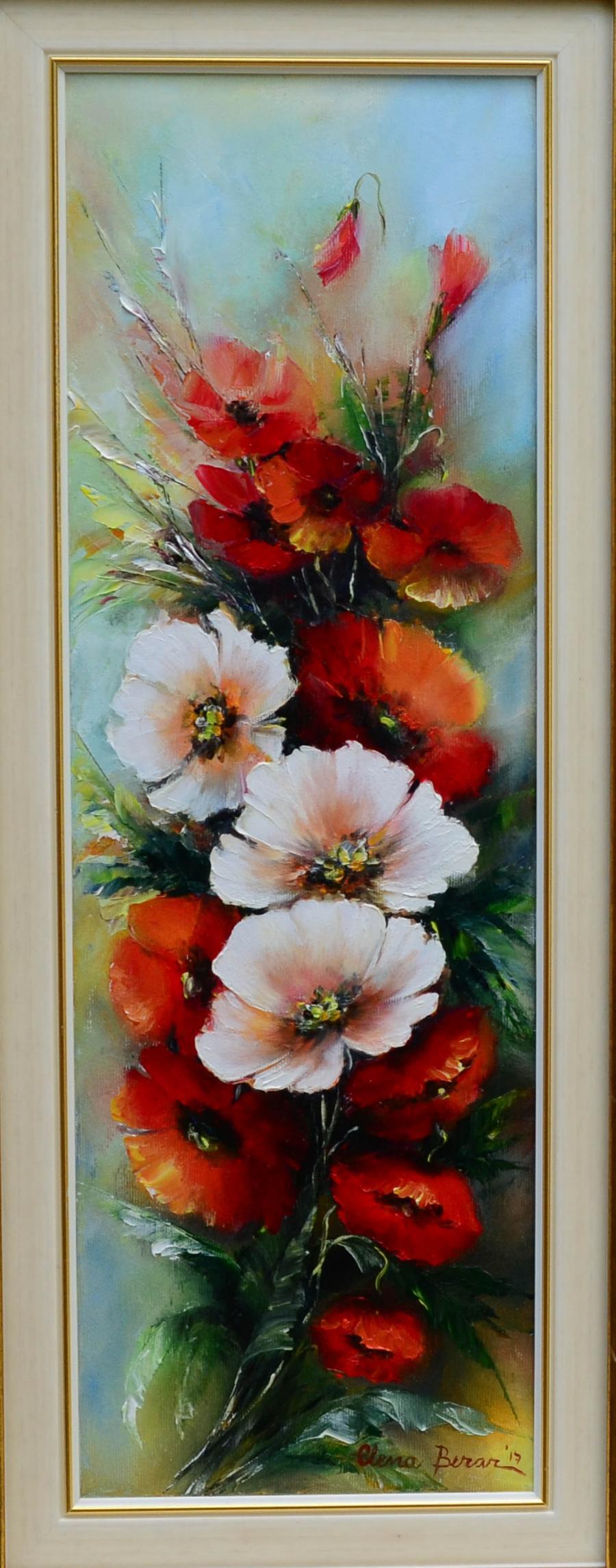 Picturi cu flori Maci albi si rosii