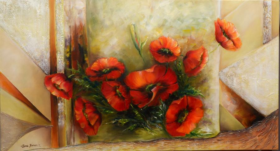 Picturi cu flori Miraj in rosu