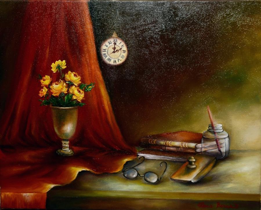 Picturi cu flori Natura statica ceas
