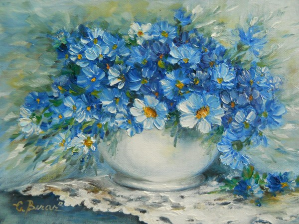 Picturi cu flori Vas cu albastrele