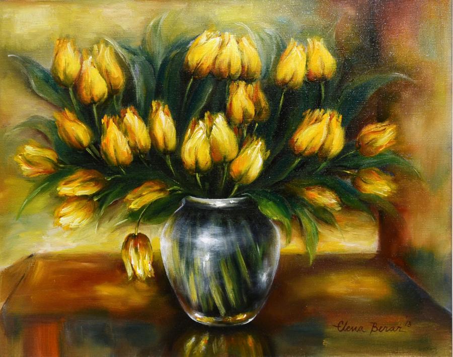 Picturi cu flori vas cu lalele galbene