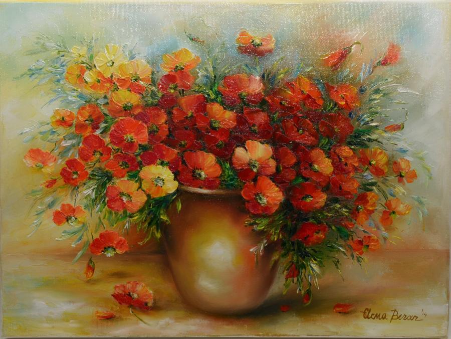 Picturi cu flori Vaza cu flori rosii 2