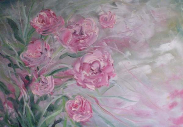 Picturi cu flori In lumina roz