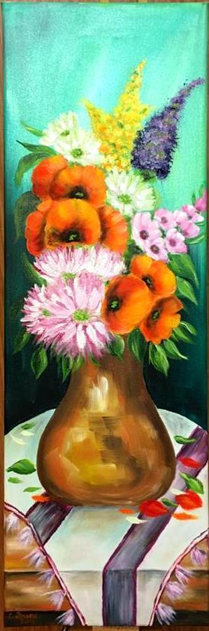 Picturi cu flori Flori in vas maro