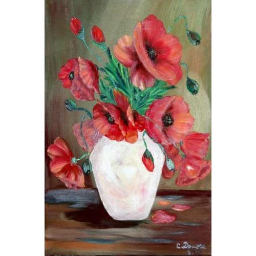 Picturi cu flori Maci in vaza 003