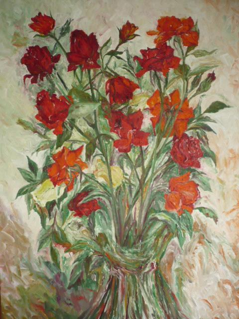 Picturi cu flori TRANDAFIRI BUCHET