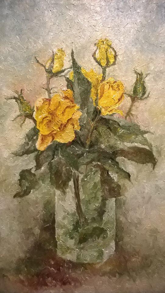Picturi cu flori TRANDAFIRI GALBENI2