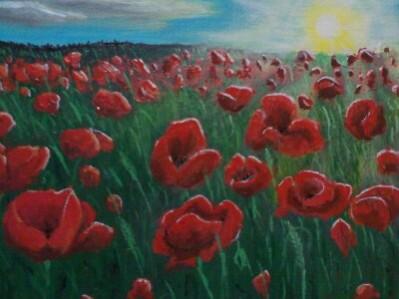 Picturi cu flori Camp cu maci