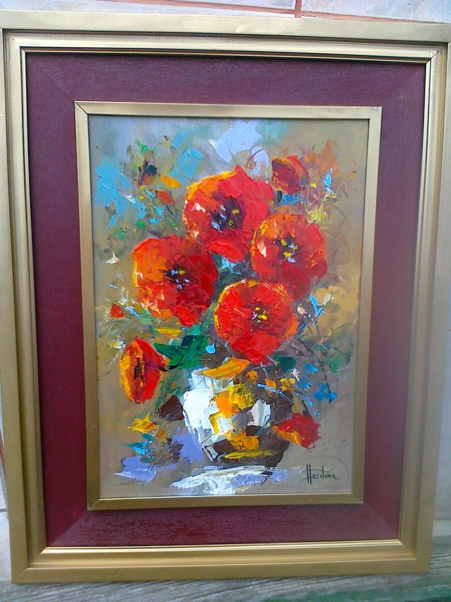 Picturi cu flori maci  in ulcica