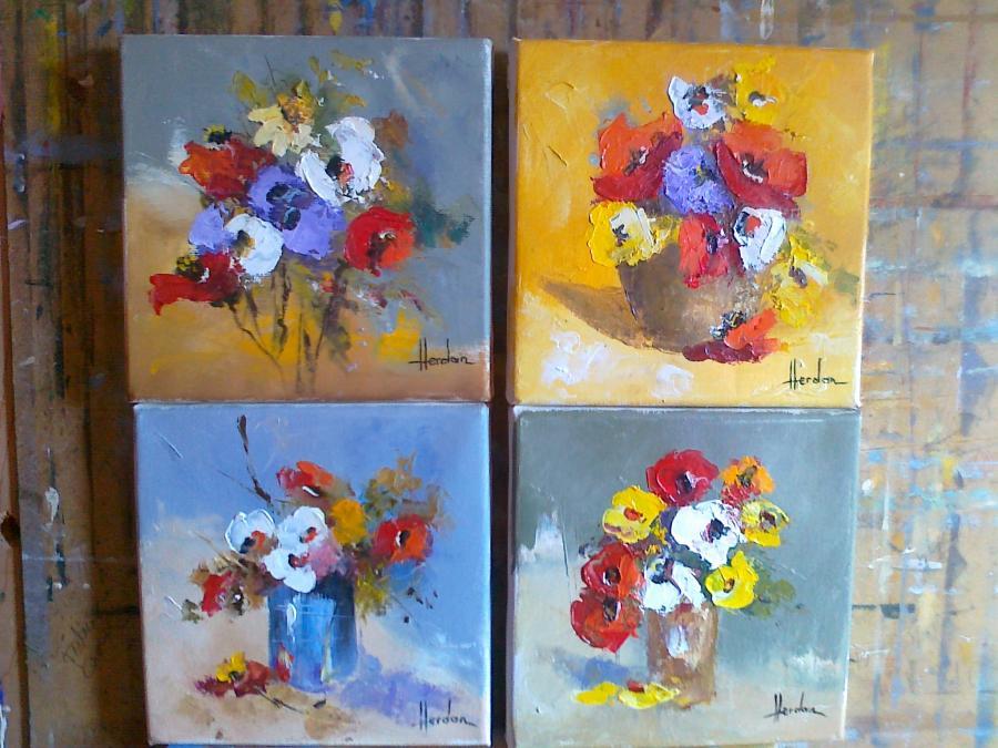 Picturi cu flori miniaturi cu anemone