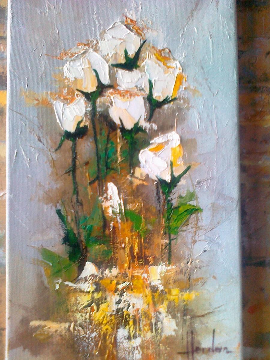 Picturi cu flori TRANDAFIRI ALBI 3