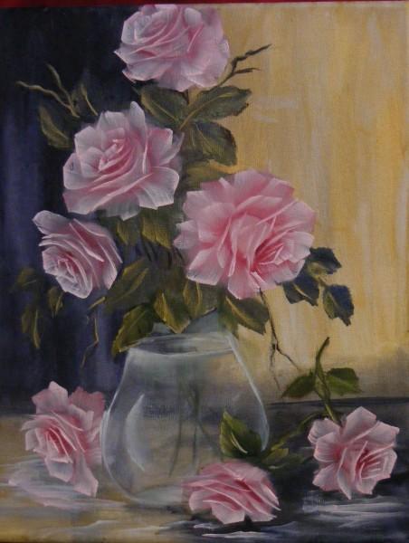 Picturi cu flori Aranjament rozaliu