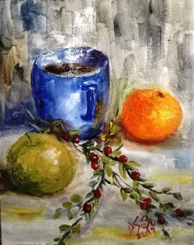 Picturi cu flori Cana fierbinte de cafea