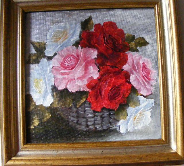 Picturi cu flori Cos cu trandafiri colorati