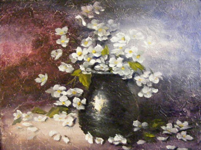 Picturi cu flori Flori de iasomie in vas albastru