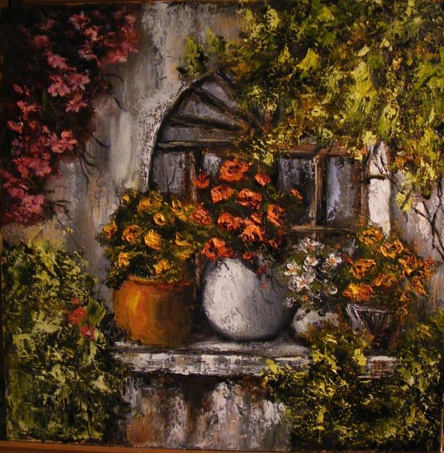Picturi cu flori Gradina din fereastra