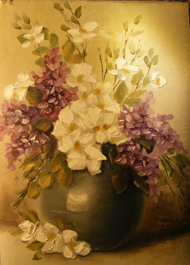 Picturi cu flori Iasomie si liliac in vas de jad