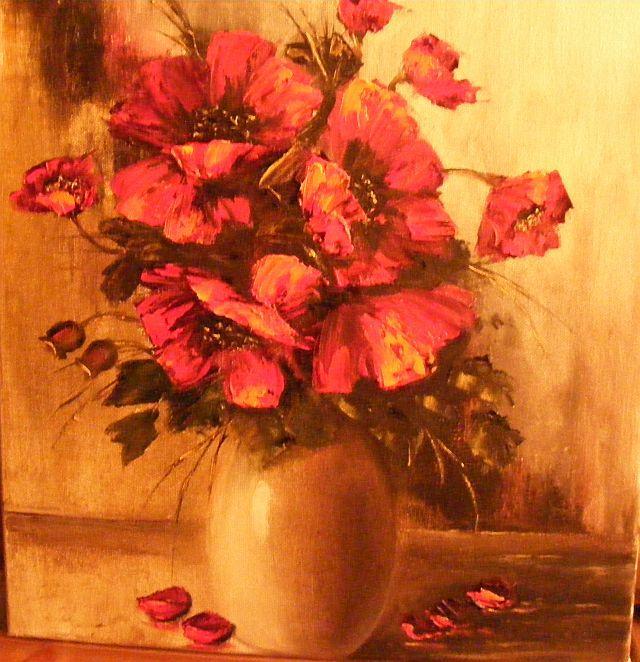 Picturi cu flori Maci in cutit 2