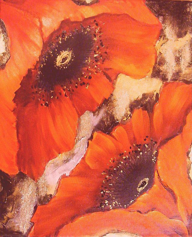 Picturi cu flori Maci indragostiti