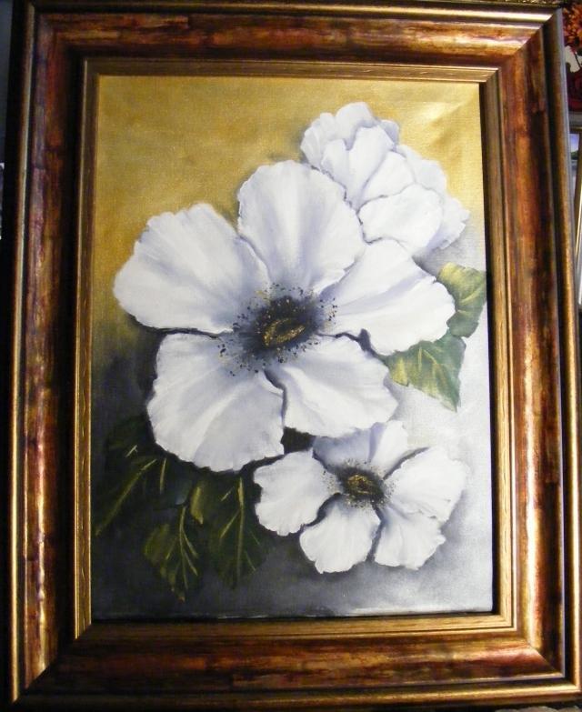 Picturi cu flori Marile flori albe