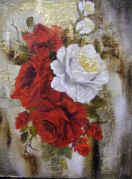 Picturi cu flori Martie in rosu si alb