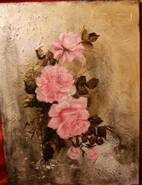 Picturi cu flori Motiv abstract cu trandafiri roz