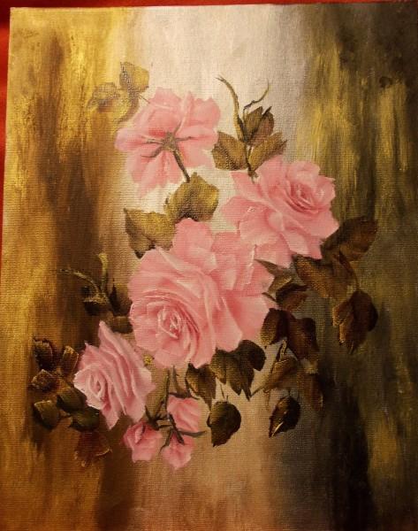 Picturi cu flori Motiv liniar cu trandafiri roz