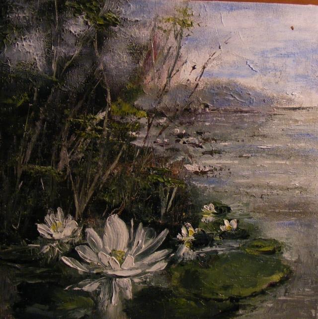 Picturi cu flori Nuferi albi pe lac
