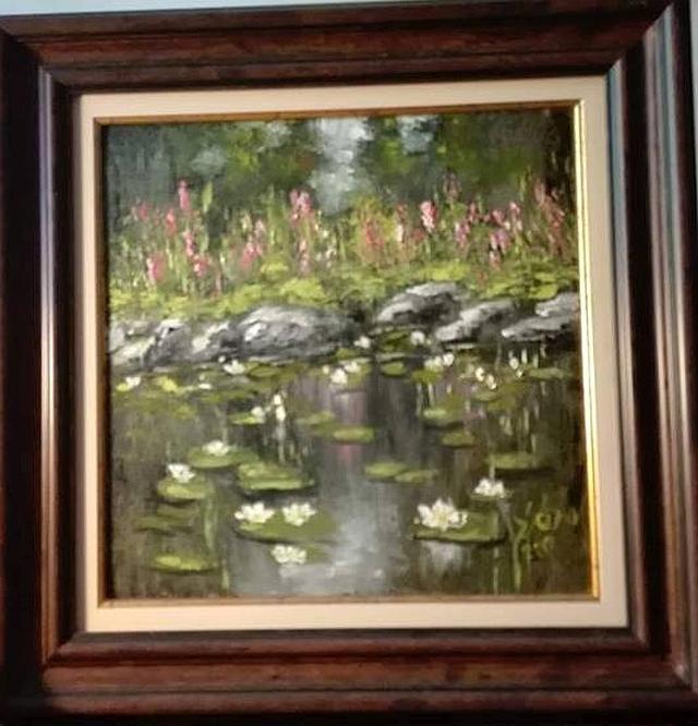 Picturi cu flori Pe langa lac