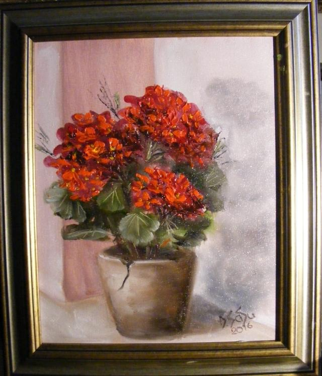 Picturi cu flori Pervazul cu muscata