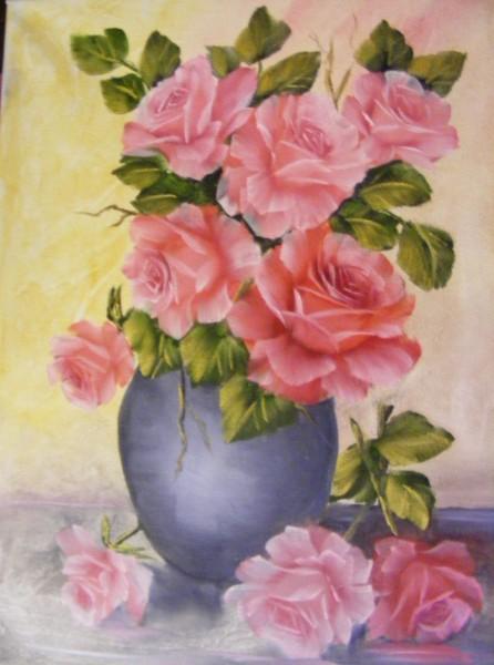 Picturi cu flori Poezie in roz