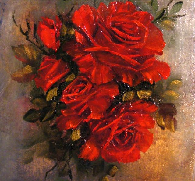 Picturi cu flori Roze rosii in lumina apusului