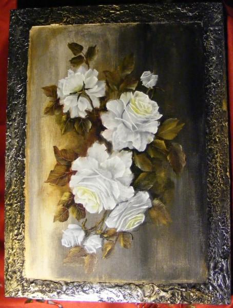 Picturi cu flori Trandafiri albi 30-40