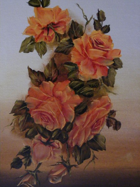 Picturi cu flori Trandafiri de culoarea piersicii
