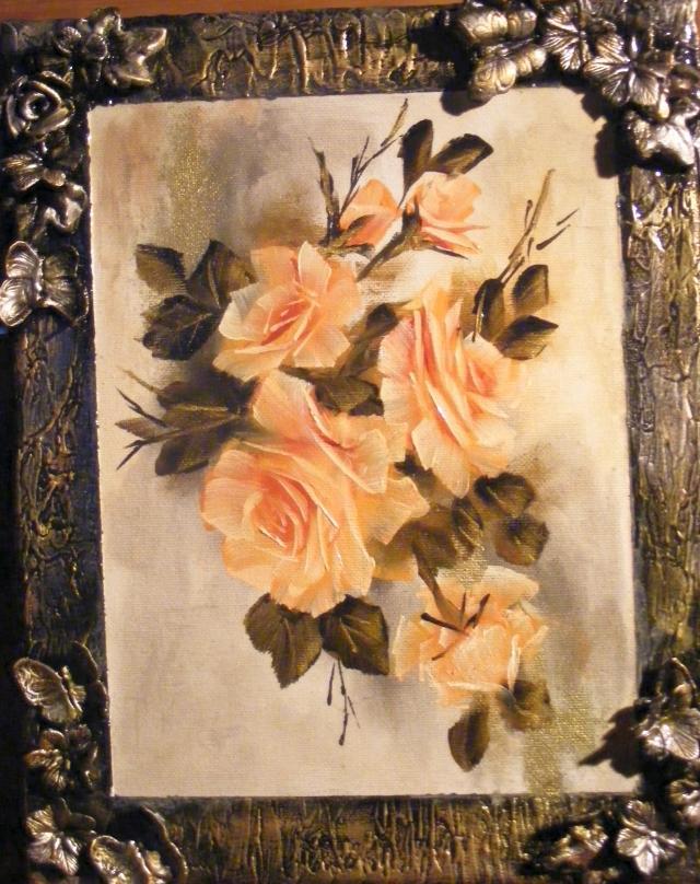 Picturi cu flori Trandafiri in rama