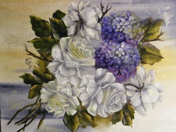 Picturi cu flori Trandafiri si hortensii