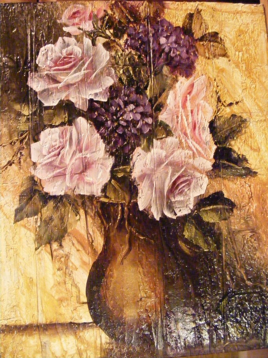 Picturi cu flori Trandafiri si hortensii in vas de bronz