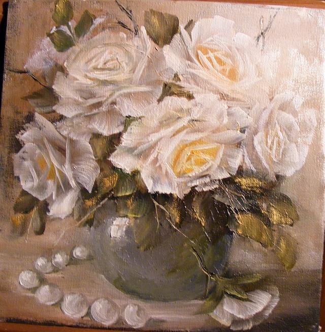Picturi cu flori Trandafiri si perle 1