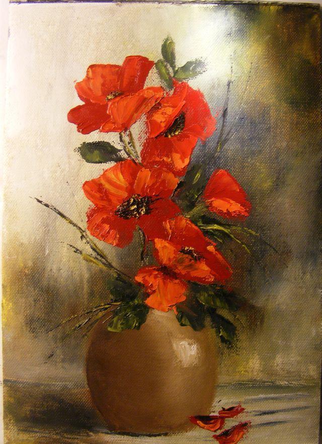 Picturi cu flori Vas rustic cu maci