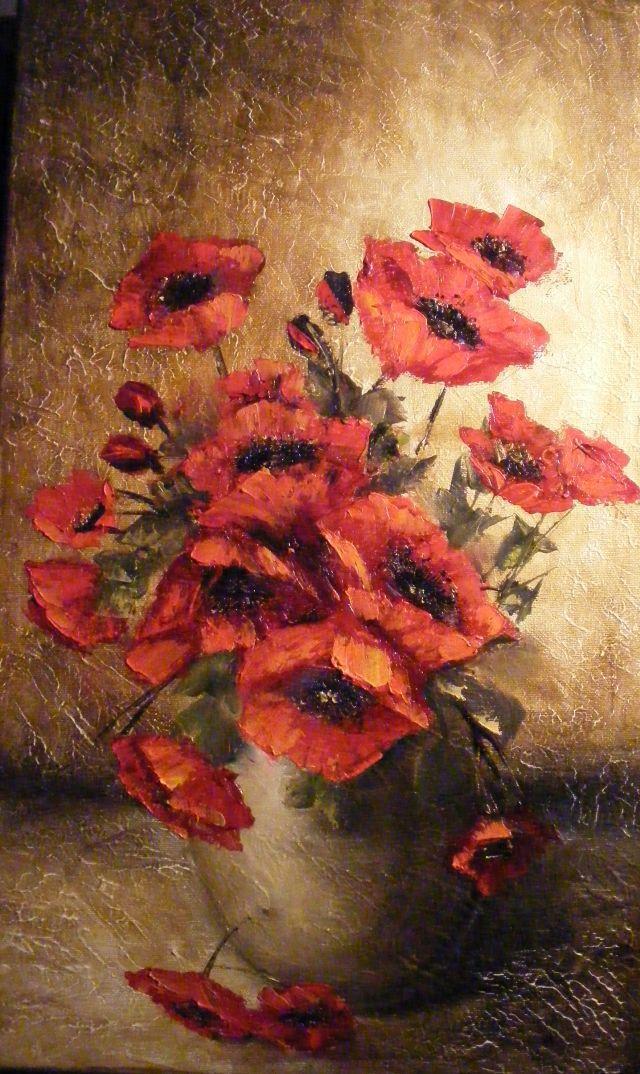 Picturi cu flori Vas taranesc cu maci