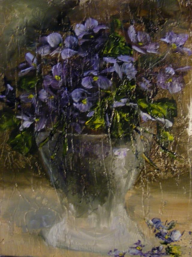 Picturi cu flori Violete in vas de sticla