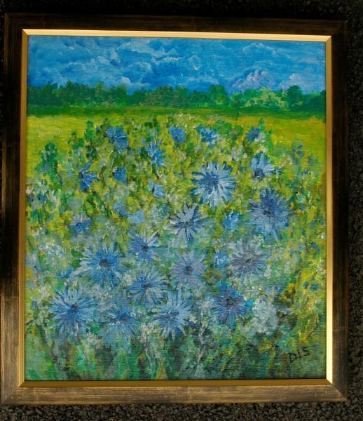 Picturi cu flori Camp cu albastrele