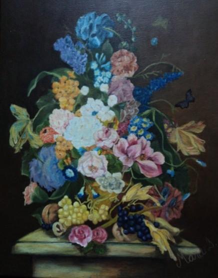 Picturi cu flori Flori si struguri