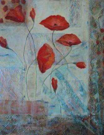 Picturi cu flori Opium abstract
