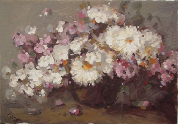 Picturi cu flori  cana cu flori roz