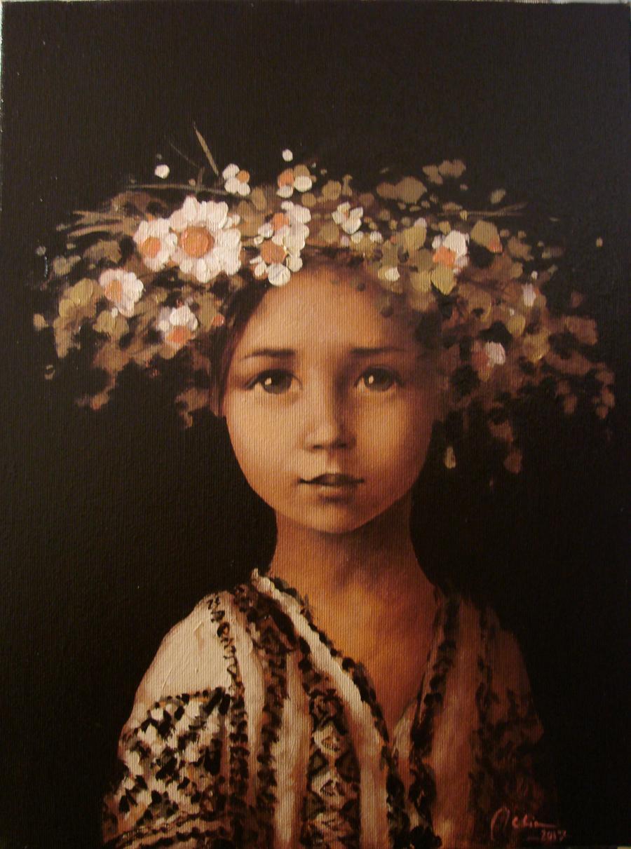 Picturi cu flori Copila cu coronita de flori de camp