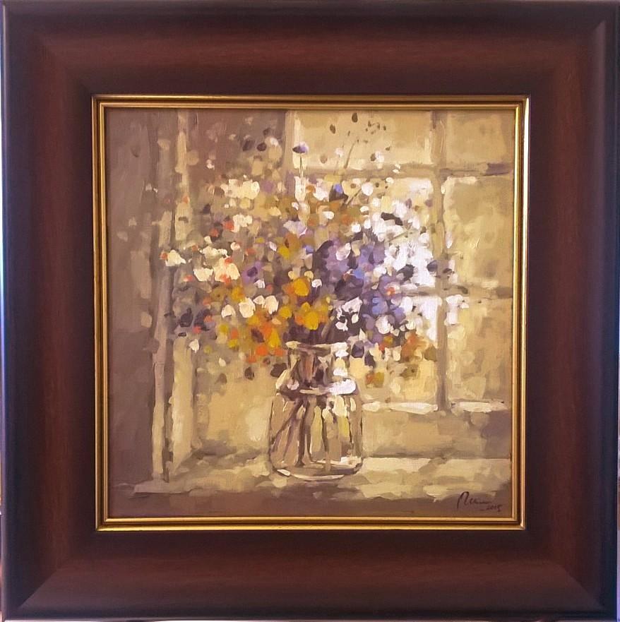 Picturi cu flori flori de camp in geam1