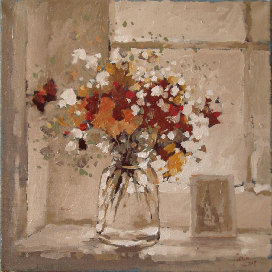 Picturi cu flori flori de camp in geam2