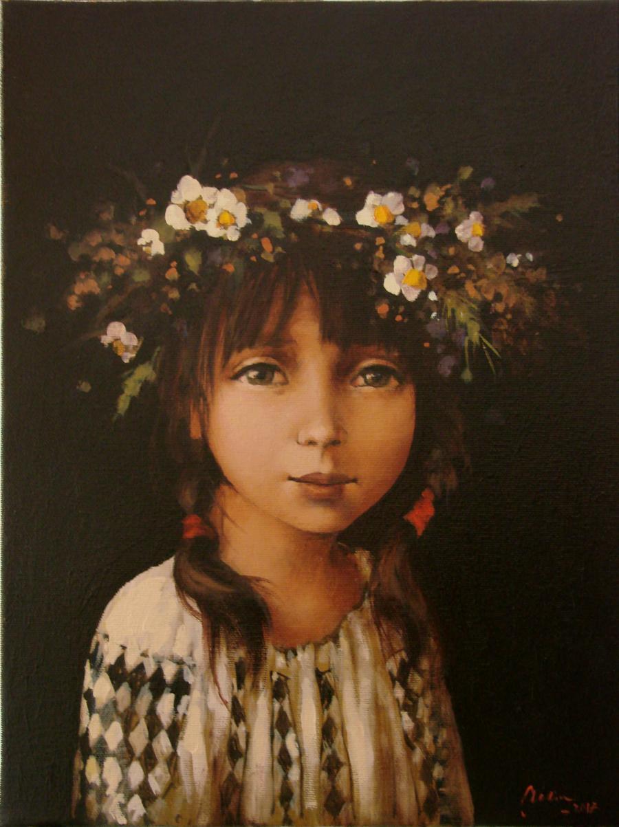 Picturi cu flori O fetita cu codite