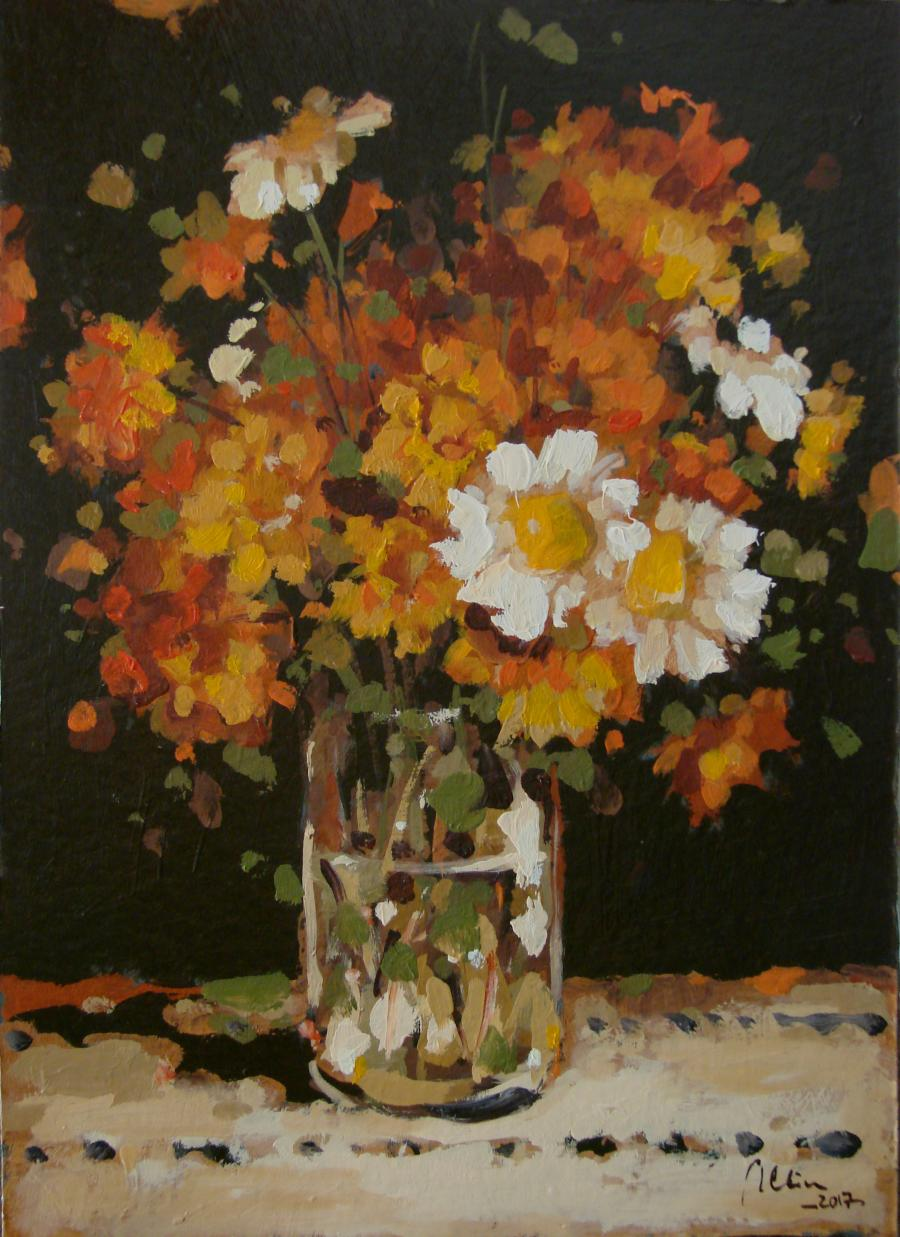 Picturi cu flori Paharul cu flori albe si galbene, Ulei Pe Carton